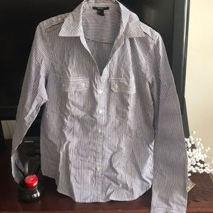 Forever 21 Tops - Navy and white button down